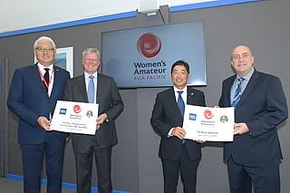 (写真:「ハイレベルな女子アマ選手権になる」と関係者は胸を張る。左からAPGC理事のK.J.リー、R&AチーフエグゼクティブのM.スランバー、日本カバヤ・オハヨーホールディングス顧問ゴルファー・小田教久、R&AアジアパシフィックディレクターのD.ウォール)